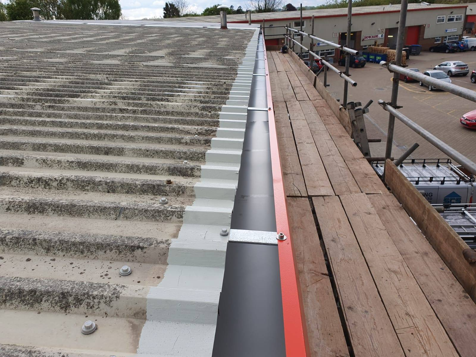 Repairs to a warehouse gutter in Borough Green, Kent
