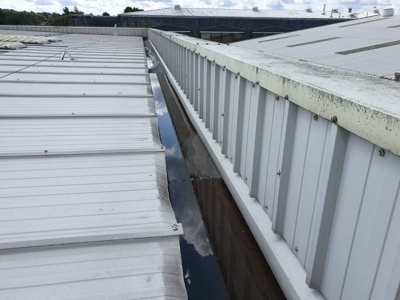 Gutter repair to a factory and office roof in Sidcup, Kent