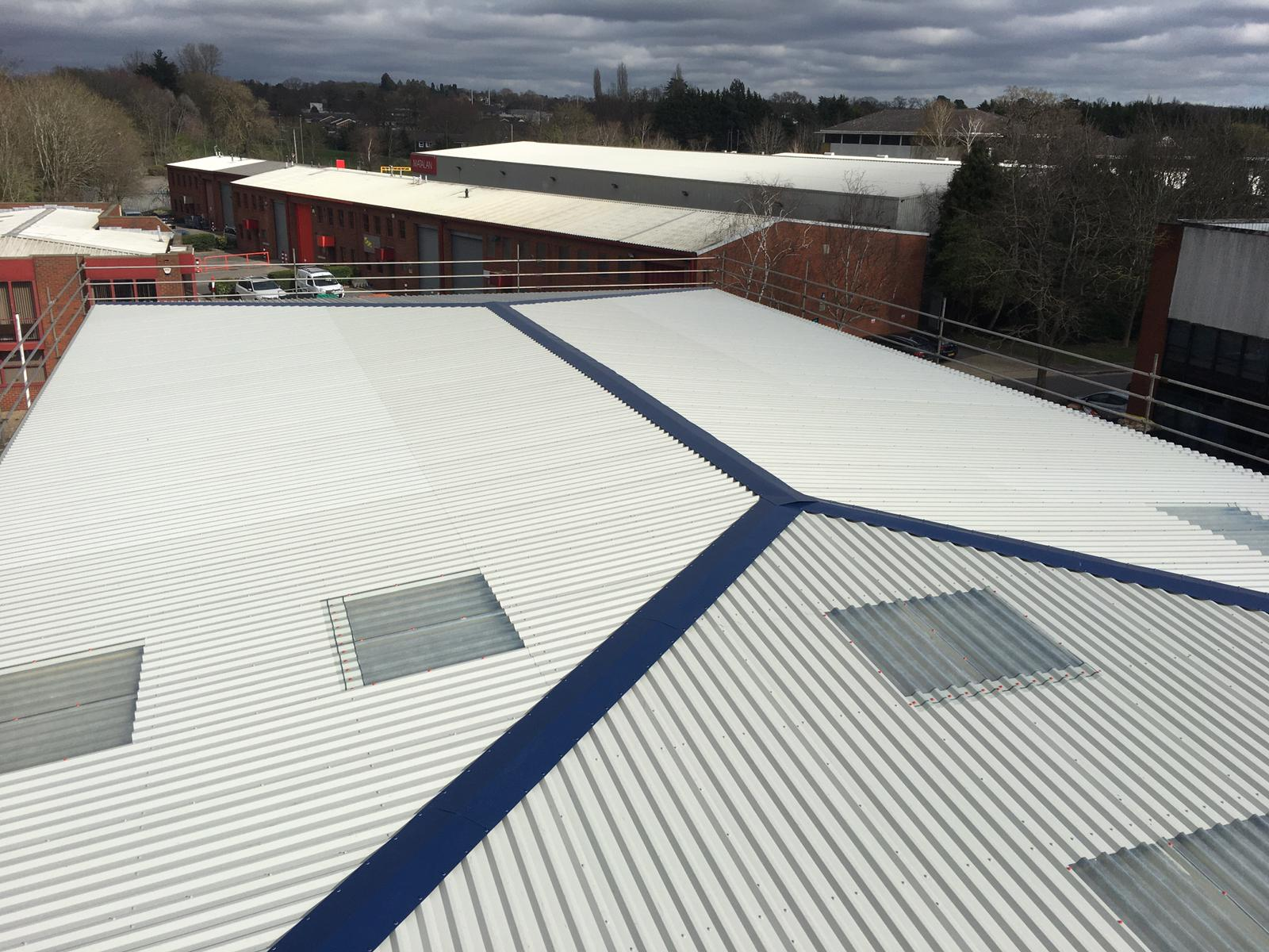 Over Roofing and Rooflights to an Office Warehouse Roof in Camberley Surrey
