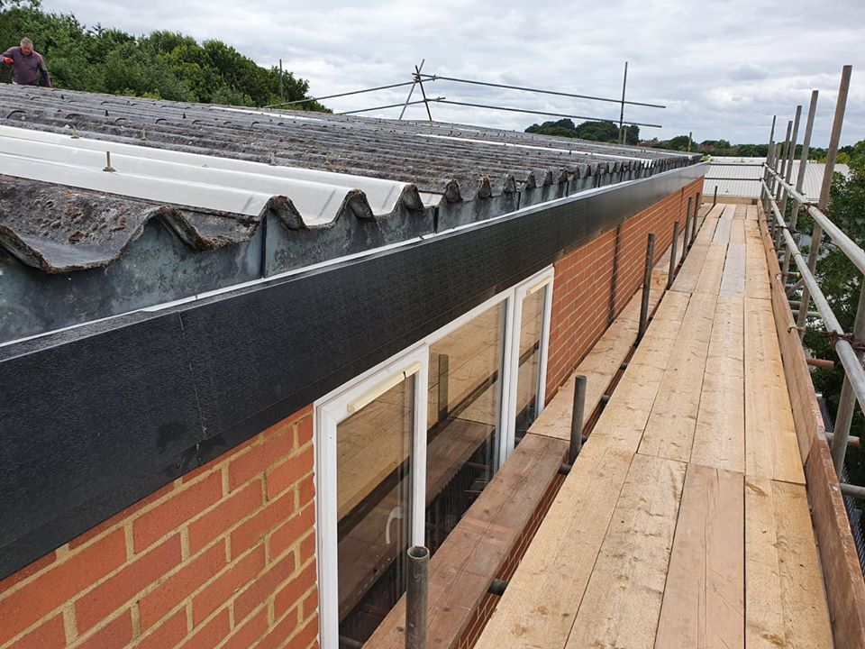 Gutter installation to an office and warrehouse in Chessington Surrey