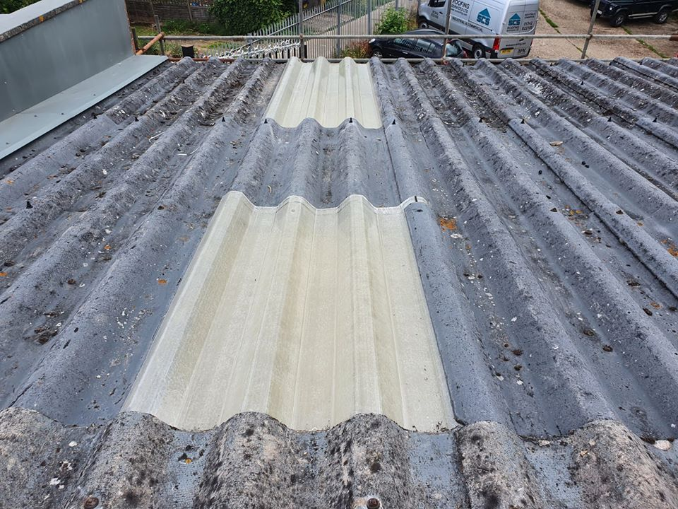Rooflights repair work to warehouse and office roofs in Chessington Surrey