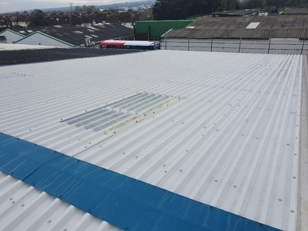 Over-roofing to a warehouse and office roof in Worthing West Sussex