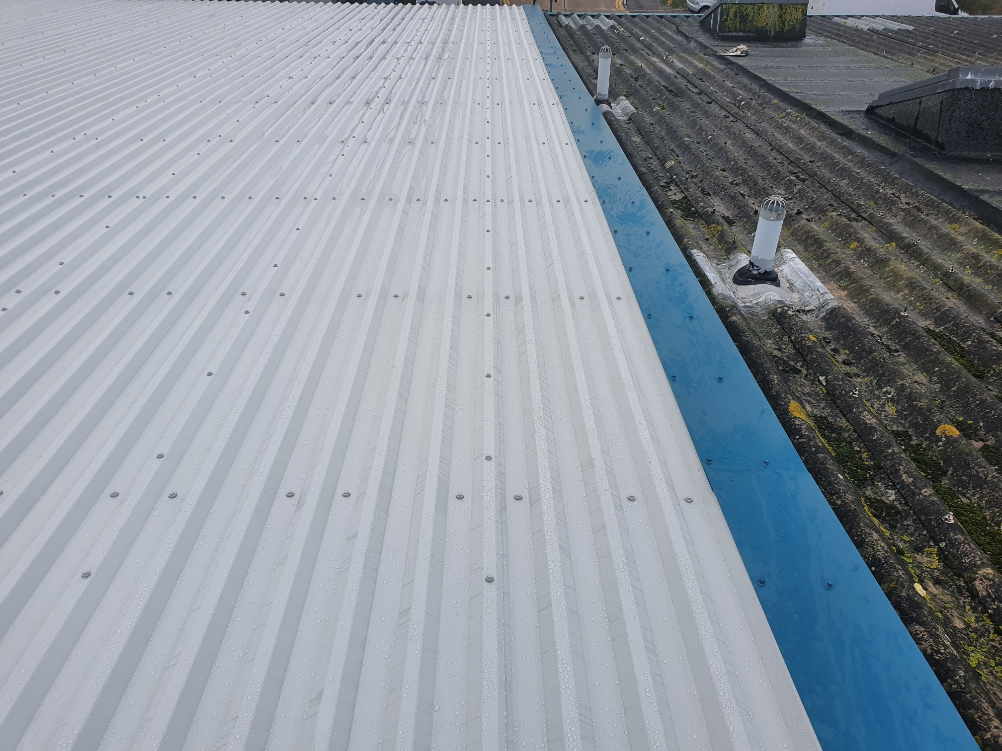 Warehouse over roofing in Worthing West Sussex