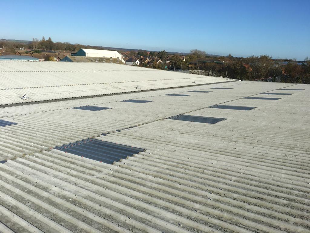 Translucent rooflights replacement to a warehouse office roof in Littlehampton West Sussex
