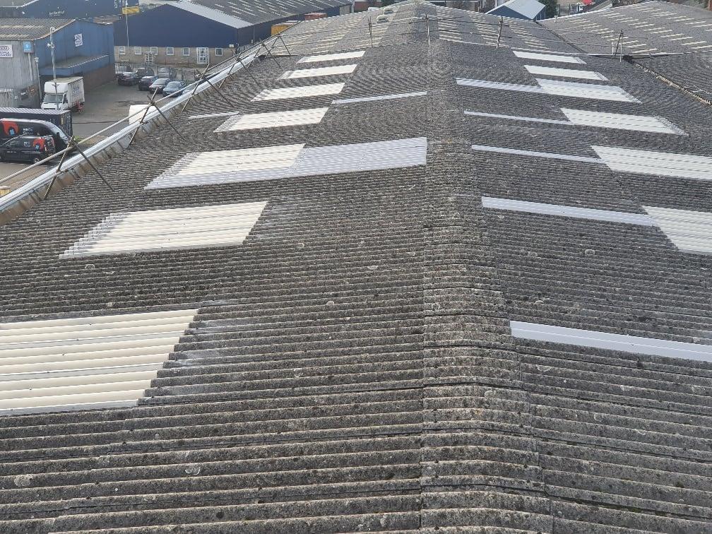 Warehouse roof in Dagenham Essex