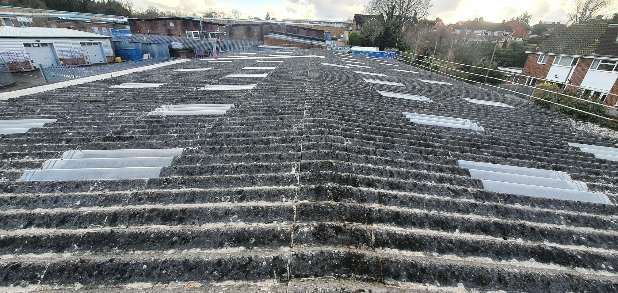Factory roof repair and rooflights in East Grinstead West Sussex