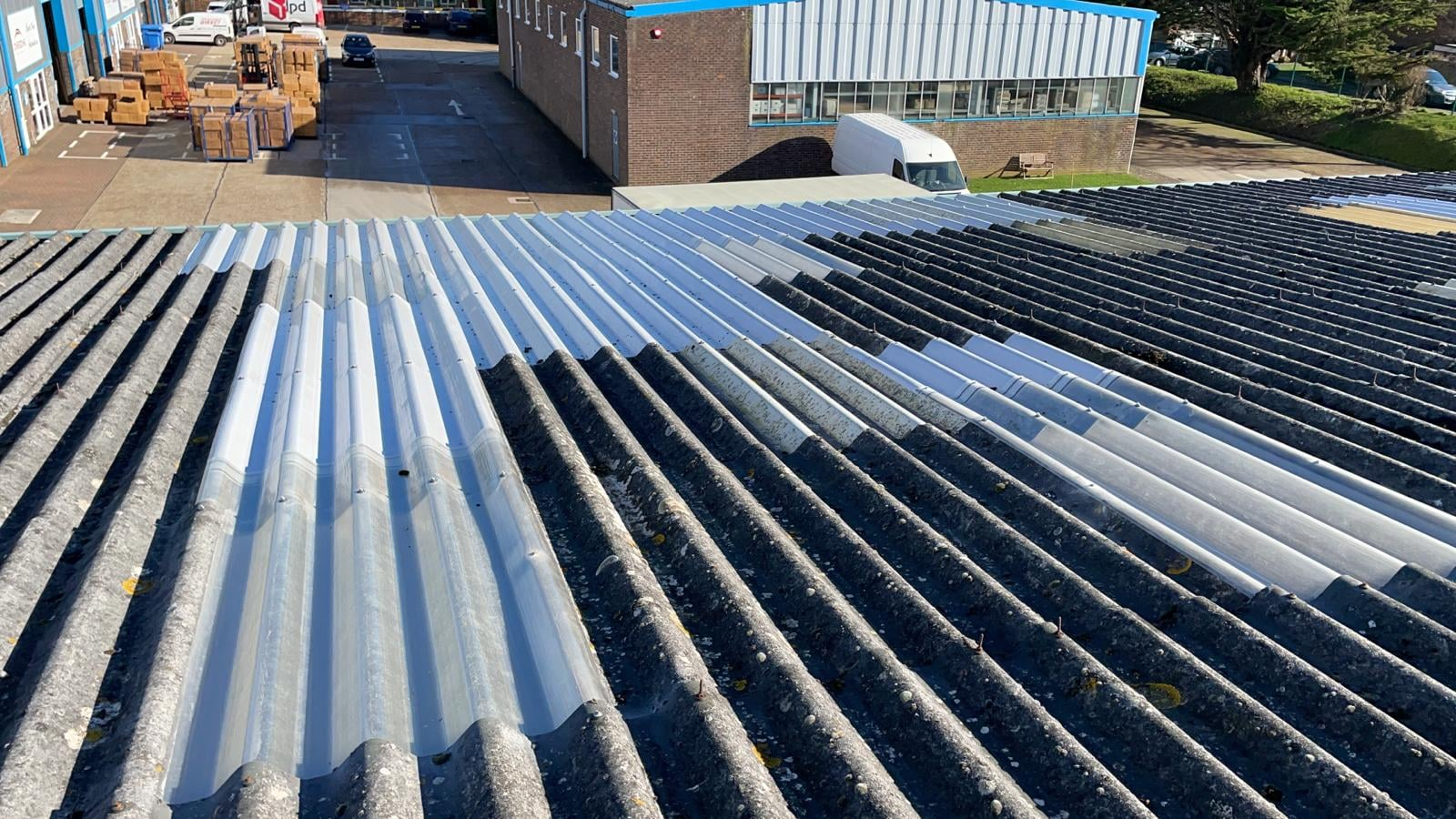 Leaking Roof Repairs on a Warehouse roof in Sompting Worthing West Sussex