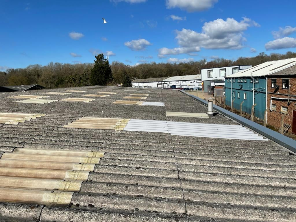 Roof repair on a Factory roof in Sevenoaks Kent