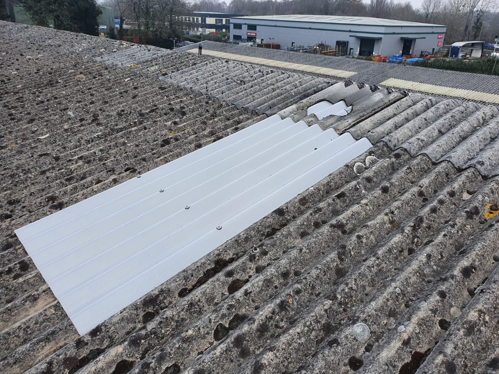 Roof repairs to a factory roof in Ash Vale Aldershot Hampshire