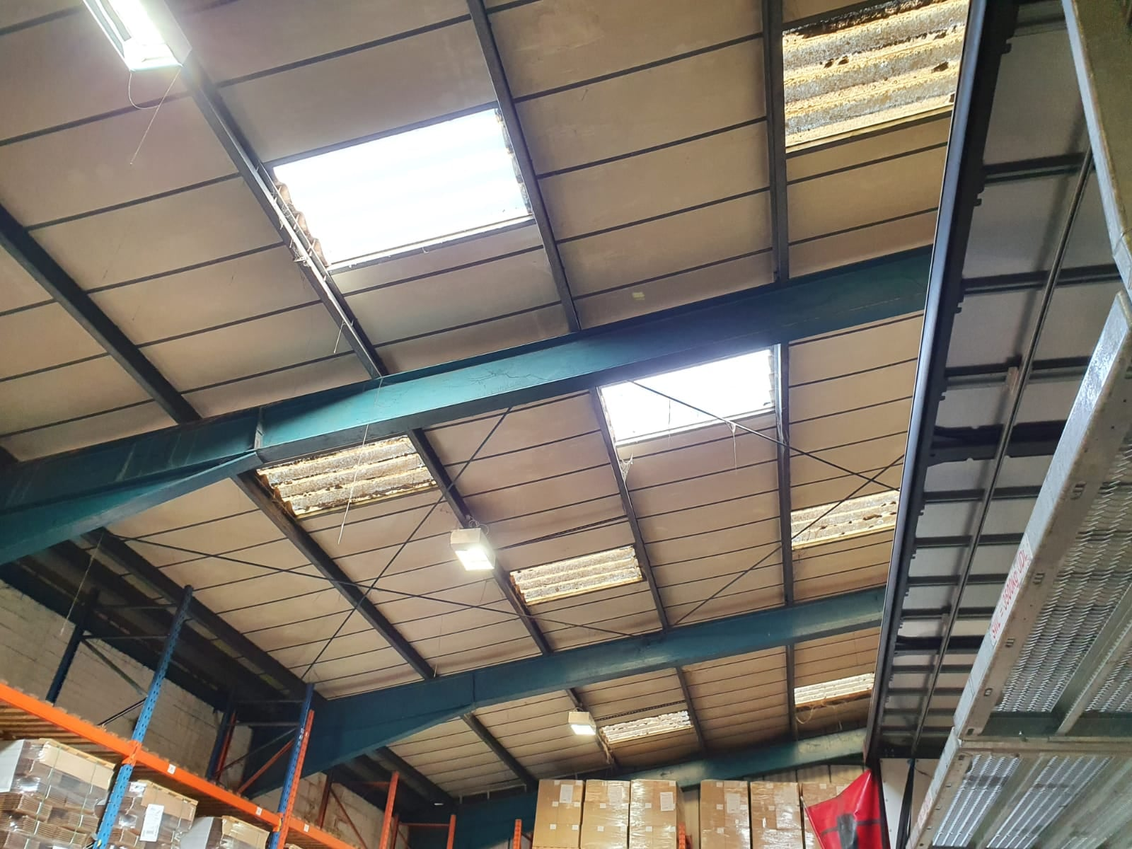 Rooflight repairs to a leaking Warehouse Roof in Larkfield Aylesford Kent