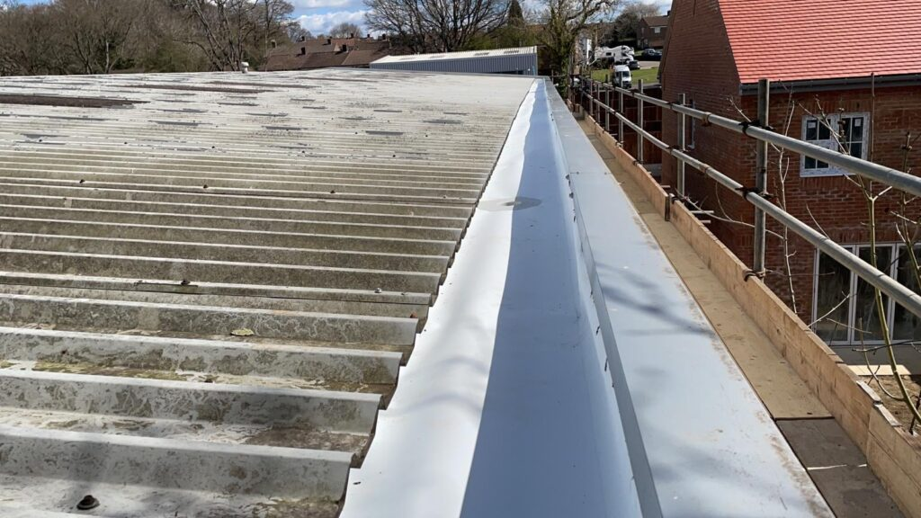 Repair work to a warehouse and office roof in Tadworth Surrey