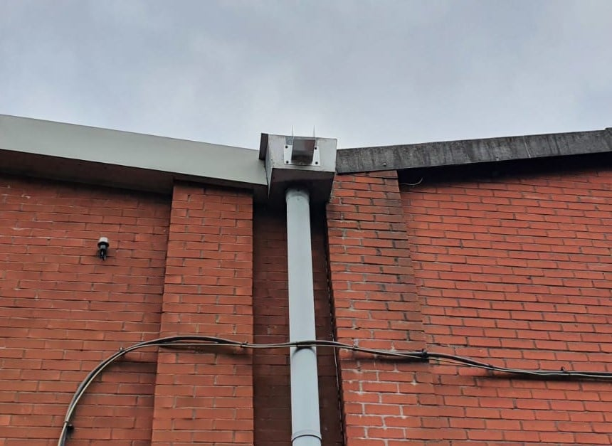 Gutter Replacement on a large Factory roof in Ash Vale Aldershot Hampshire