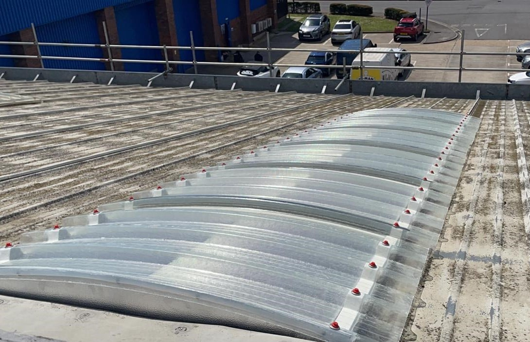 Roof repair works to an empty retail industrial unit in Southampton Hampshire