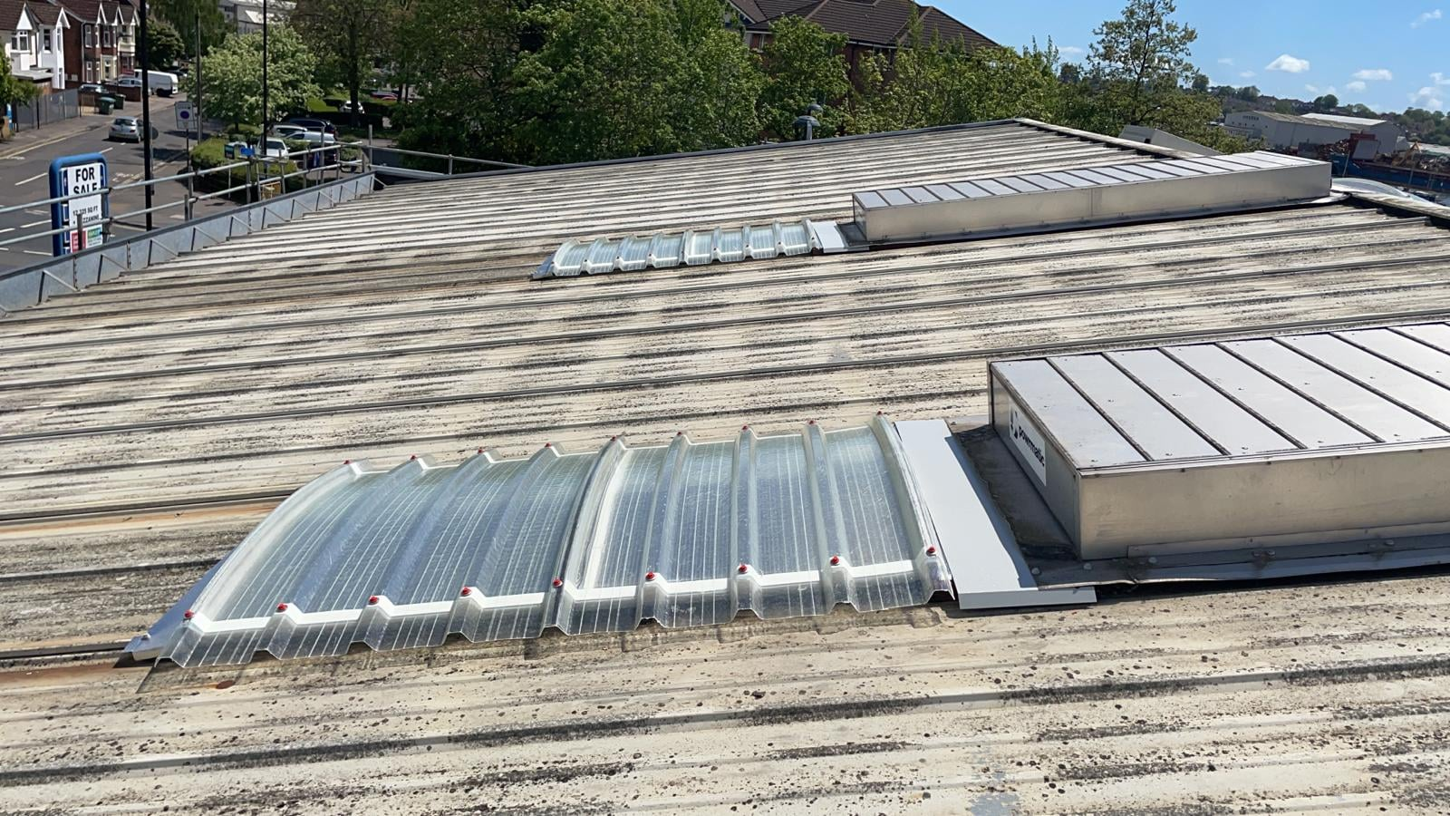 Roof repairs to an empty retail industrial unit in Southampton Hampshire