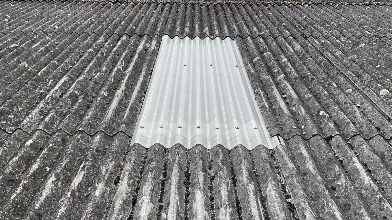 Rooflights on a commercial garage roof in Lancing West Sussex
