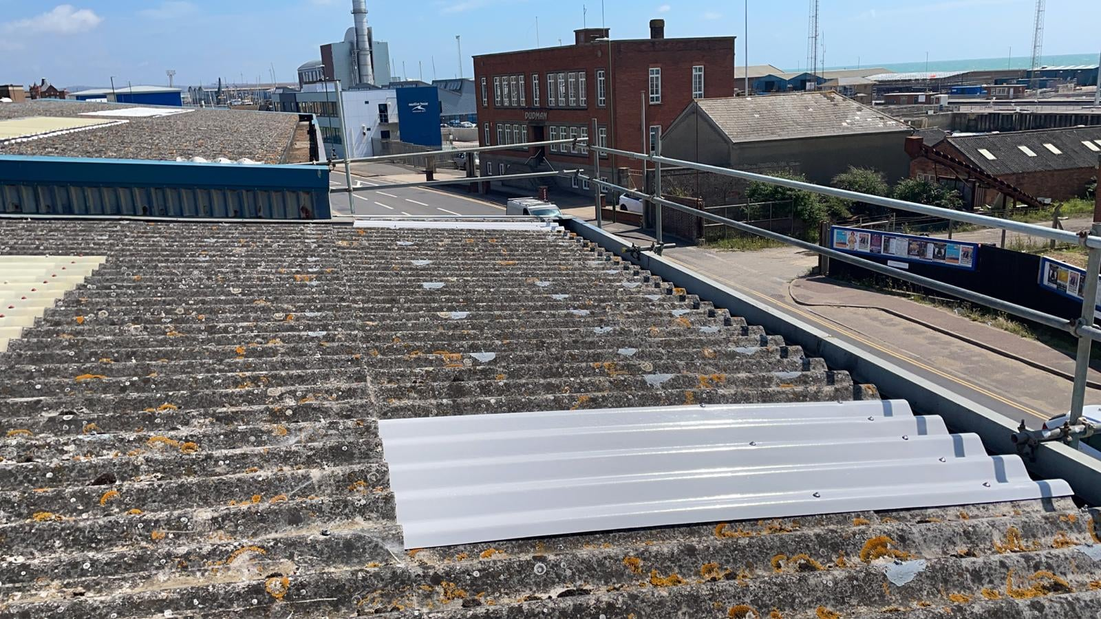 repairs to a warehouse roof in Southwick West Sussex