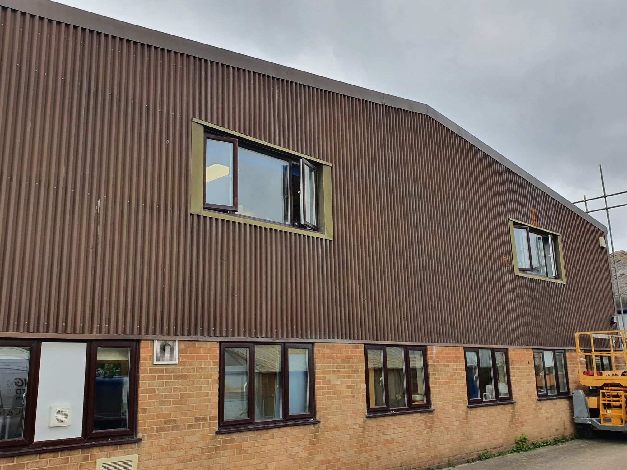 Cladding on a warehouse roof in Littlehampton West Sussex
