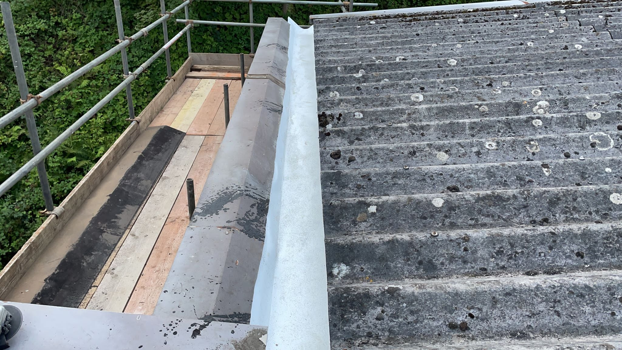 Gutter lining work to a office roof in Crowborough East Sussex