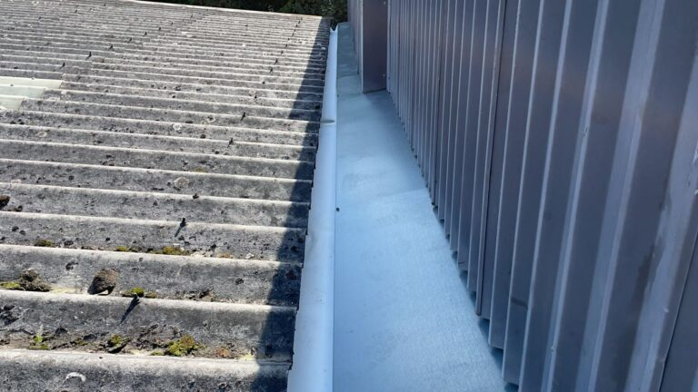 Gutter lining work to a warehouse and office roof in Crowborough East Sussex