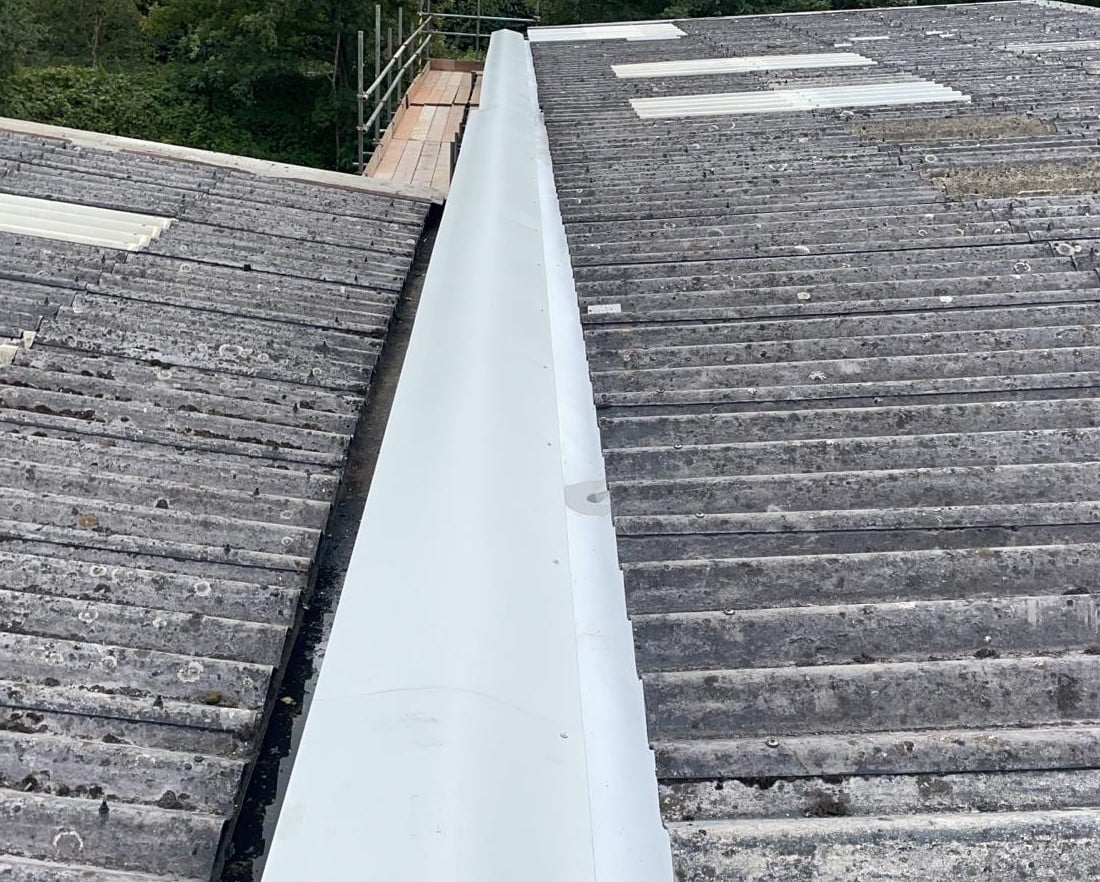 Gutter work to a warehouse and office roof in Crowborough East Sussex