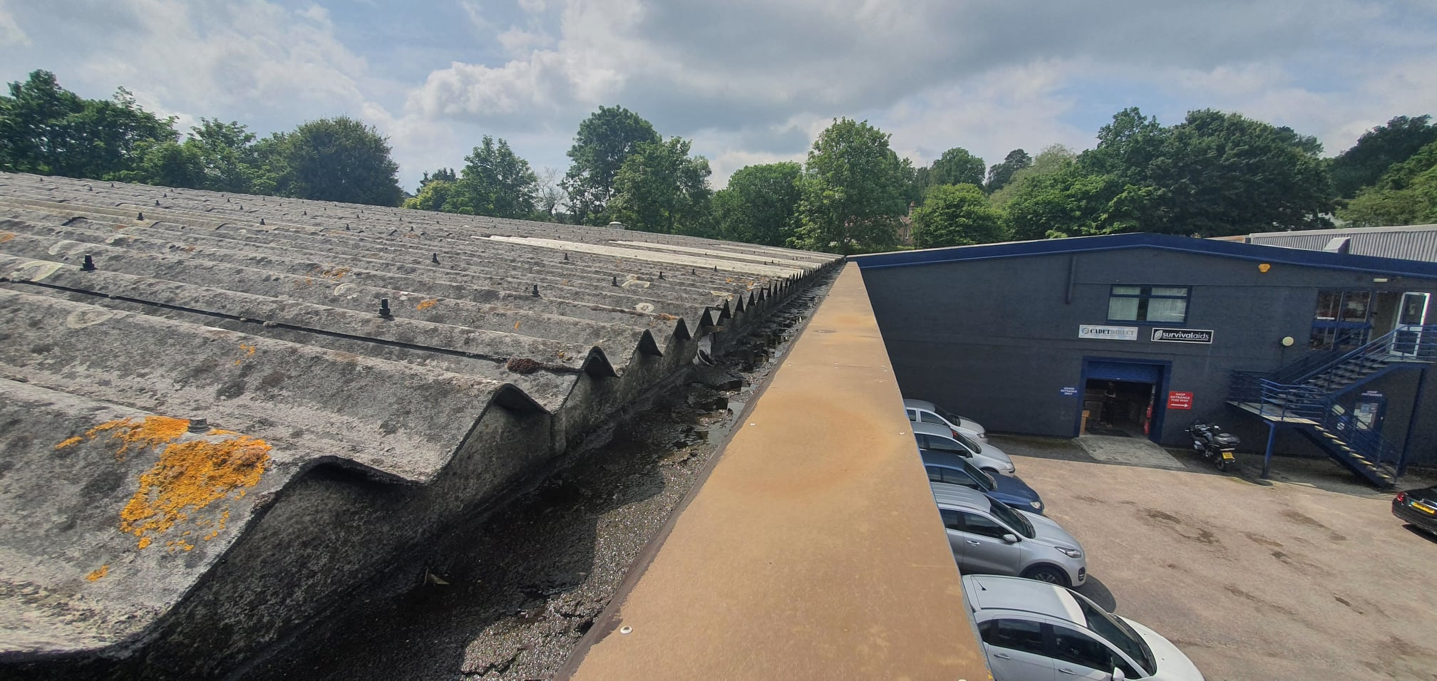 Gutter work to a warehouse roof in Crowborough East Sussex