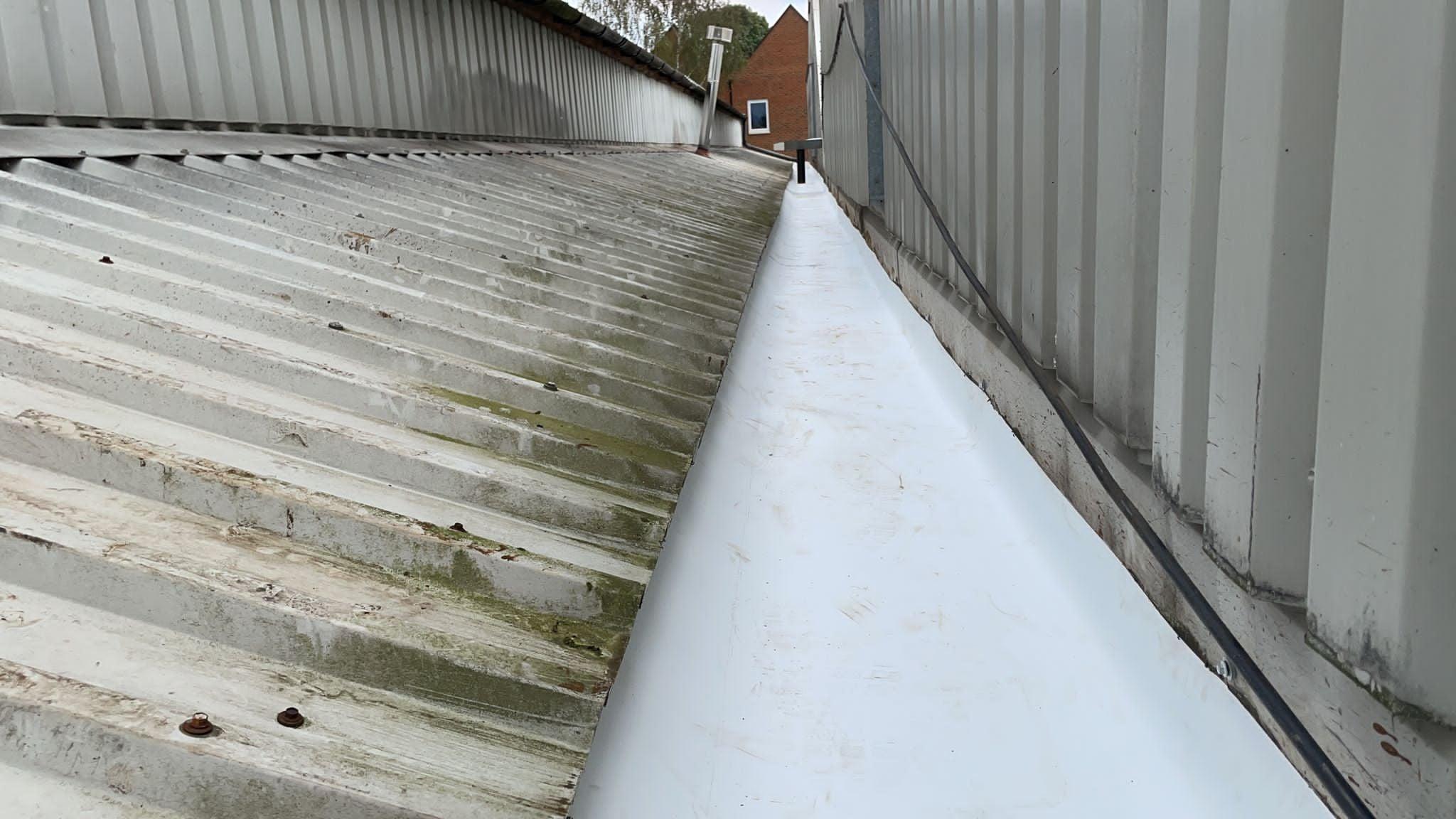 gutter lining work to a warehouse roof in Edenbridge Kent